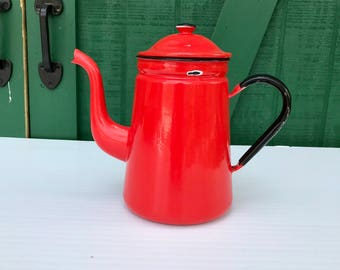 Vintage Enamel CoffeePot,  Vintage RED French Enamelware Coffee Pot, French Antique Country Cottage,