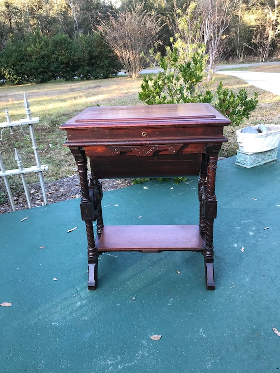 image 0 - Antique Sewing Cabinet Victorian Lift Top Table Games Table Etsy