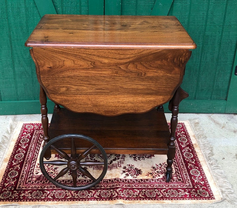 Antique Wood Tea Cart Bar Cart Victorian Tea Cart Primitive Cart Spoke Wheels Vintage Tea Cart Drop Leaves Pull Handle Scolloped