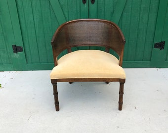 Barrel Chair, Mid-Century Modern Chair, Velvet Upholstery, Vintage, Wicker
