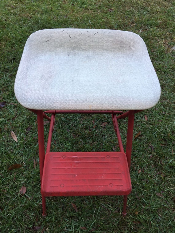 Incredible Vintage Samsonite Folding Seat Stool Metal Step Ladder Kitchen Stool Step Stool Caraccident5 Cool Chair Designs And Ideas Caraccident5Info