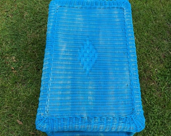 Vintage  Wicker coffee table, Blue Shabby Chic, Vintage Coffee Table , Patio Table, Wicker Patio,