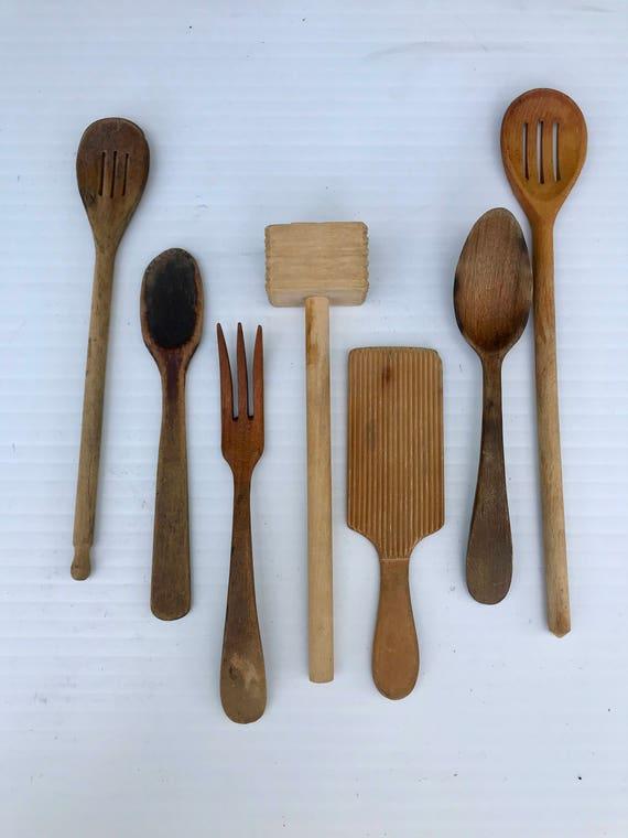 Vintage Wooden Kitchen Utensils Set Of Seven Wood Spoons Wood Forks Wood Mallet Wood Carders Tool