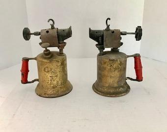 Blow Torch, Matching Pair, Vintage Brass, Clayton Lambert, Red Handle, Hand Torch