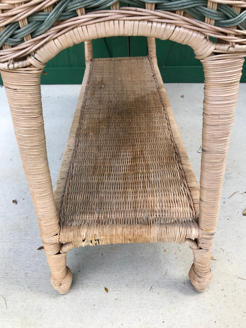 Vintage Wicker Sofa Table, Natural Wicker,Wood , Woven Rattan Table