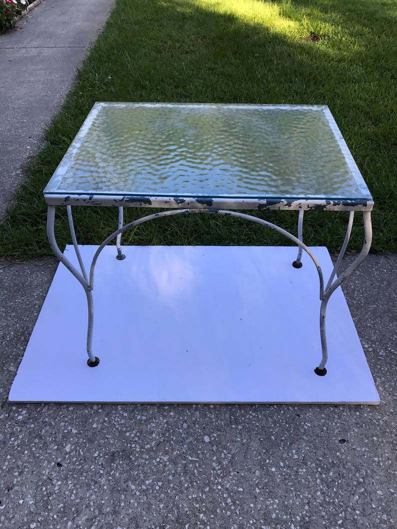 Charmant Vintage Wrought Iron Table, Glass Top Iron Table, Patio Table, White Chippy  Paint