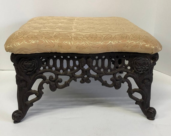 Outstanding Antique Cast Iron Foot Stool Ottoman Bench Banquettes Bralicious Painted Fabric Chair Ideas Braliciousco