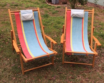 Vintage Beach chairs, Canvas Mid-Century Chairs, Wood/Canvas folding chairs, Set TWO, Awning Stripe