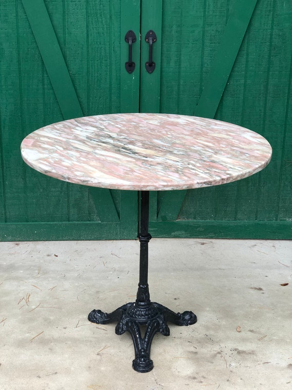 Marble Bistro Table Cast Iron Pedestal Base Pink Marble Etsy