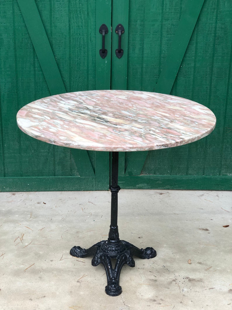 Marble Bistro Table, Cast Iron Pedestal Base, Pink Marble Top, Ice Cream  Parlor Table, Soda Fountain Table, Victorian, Side Walk Table