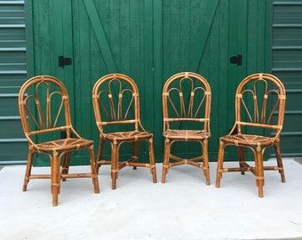 Bamboo Chairs, Wicker Chair Set, Four (4) , Brighton Style Wicker