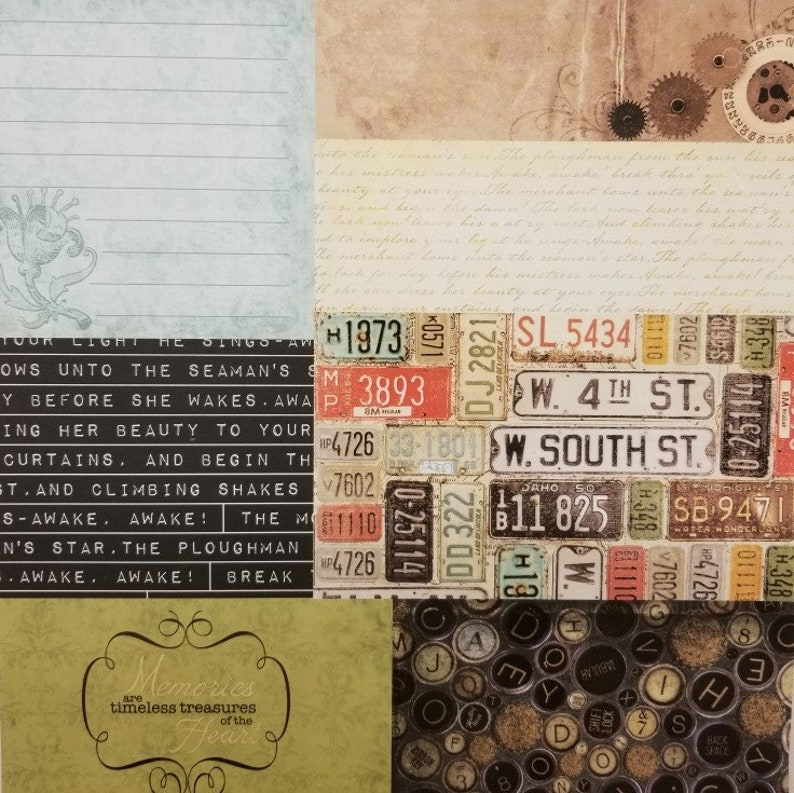 Scrap Book Vintage 12x12 10 pages License Plate Photos Numbers Plates Typewriter Keys Tags Scrapbook Papers Junk Journal