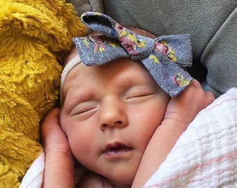 Three Bow Set/Nylon Headbands/Girly/Floral/Gingham/Newborn/Toddler/Red/White/Purple/handmade/baby shower gift