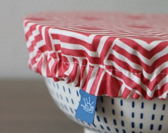 Set of three bowl covers in oeko-tex coated fabric and oeko-tex cotton, graphic red