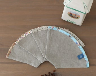 Reusable and washable coffee filter made of natural organic flax