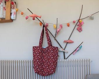 Tote bag (tote bag) reversible in vintage canvas Series Liberty