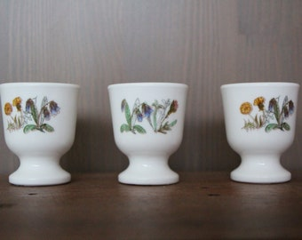 Three egg cups Arcopal vintage 70s series Dandelion and Comfrey