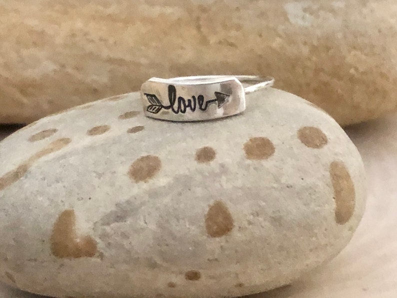 animal theme stamped with a wave gift for her cactus and owl love Tiny dainty hand-stamped ring nature theme gift