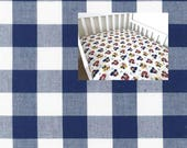 Navy Plaid Gingham Cotton Sheet, Nursery Pad Cover Crib Twin Full Queen Size Fitted Flat YOU PICK