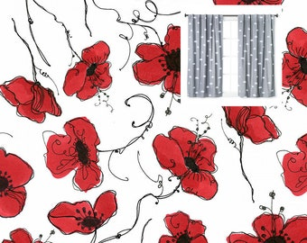 Navy Poppy Red Roses Curtains Floral Curtain Panels Floral Nursery Curtains Valance Floral Boy Girl Nursery Toddler Boy Girl Curtains