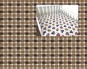 Plaid Gingham Cotton Sheet, Nursery Pad Cover Crib Twin Full Queen Size Fitted Flat YOU PICK