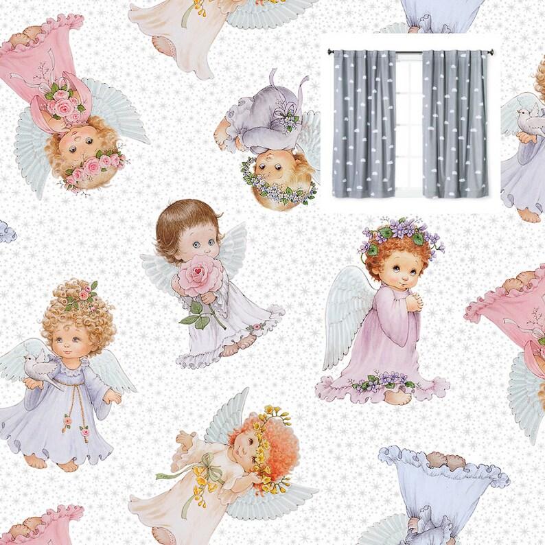 Girl Angel Nursery Curtains Glittered Fairy Cute Curtain Panels Girl Nursery Curtains Valance Princess Girl Nursery Toddler Girl Curtains