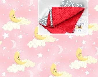 Moon Stars Clouds Girl Blanket Comforter Pink Gray Nursery Crib Bedding Blanket Cotton Minky Toddler Twin Full Queen Blanket