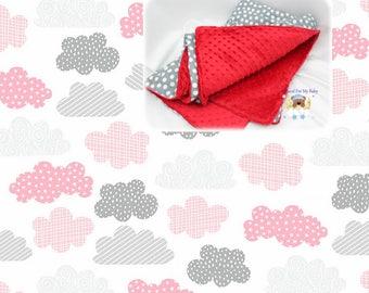 Stars Clouds Girl Blanket Comforter Pink Gray Nursery Crib Bedding Blanket Cotton Minky Toddler Twin Full Queen Blanket