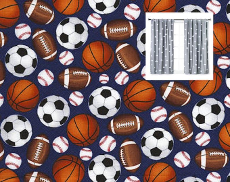 Sport Curtain Panels Baseball Soccer Football Basketball Curtains Nursery Sport Valance Boy Girl Nursery Toddler Boy Girl Curtains