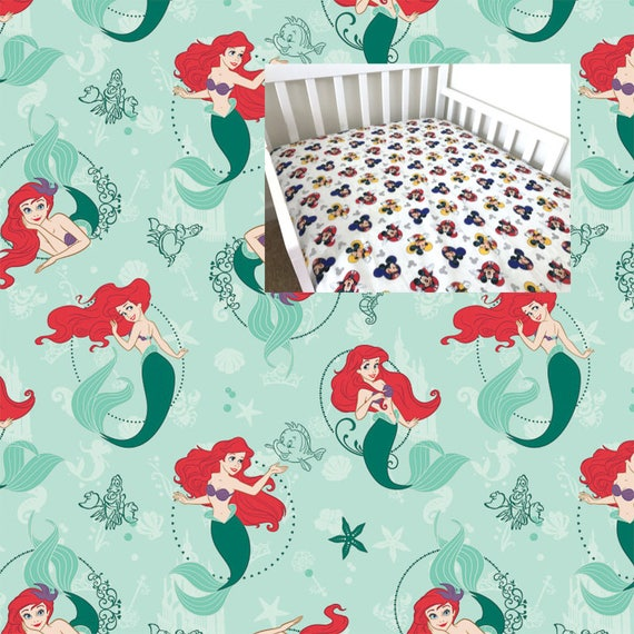 Little Mermaid Fitted Crib Sheet Cotton Disney Toddler
