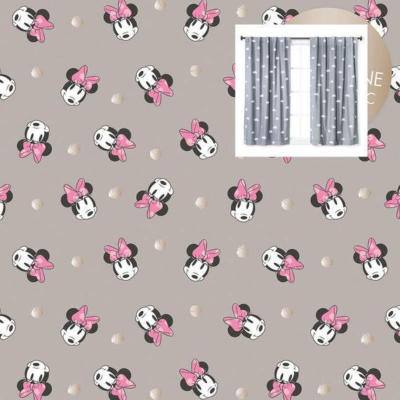 Disney Minnie Mouse Curtains Panels or Valance Girl Nursery Bedroom  Blackout or Cotton YOU PICK