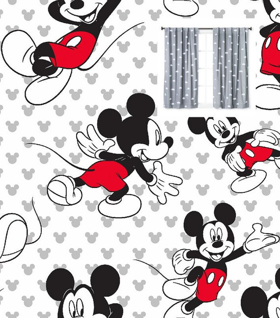 Disney Mickey Mouse Curtains Panels or Valance Girl Boy Nursery Bedroom  Blackout or Cotton YOU PICK