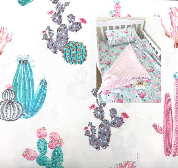 Cactus Floral Toddler Girl Bedding Set Blanket Comforter Sheet Case Twin Or Crib Size You Pick
