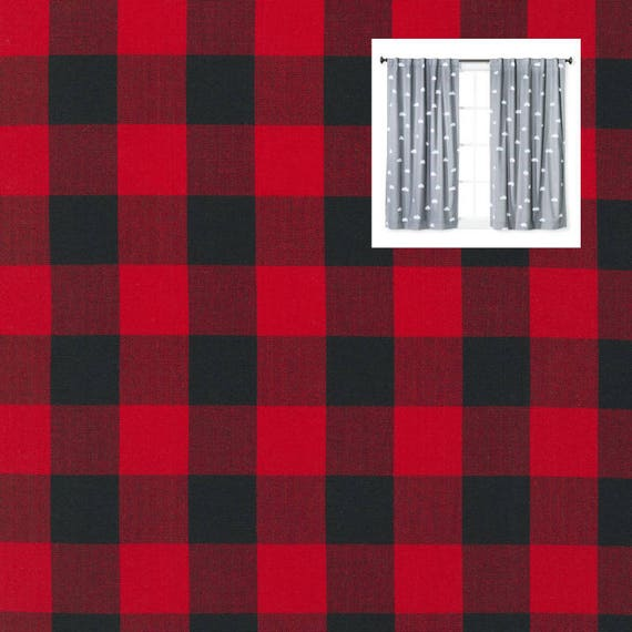 Red Black Plaid Curtains Buffalo Red Black Curtain Panels Etsy
