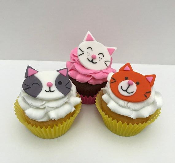 Amazing Cat Cupcake Toppers Cat Party Cat Cupcakes Cat Birthday Etsy Funny Birthday Cards Online Fluifree Goldxyz