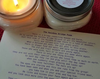 Candle, Rainbow Bridge Candle and Poem, Organic Coconut Oil Candles, Choose Your Scent, Nontoxic, Chemical and Dye Free, Pet Grief