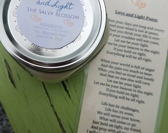 Love and Light Organic Coconut Oil Candle and Poem, All Natural, Nontoxic, Paraffin, Petroleum, Chemical and Dye Free, 8oz Mason Jar