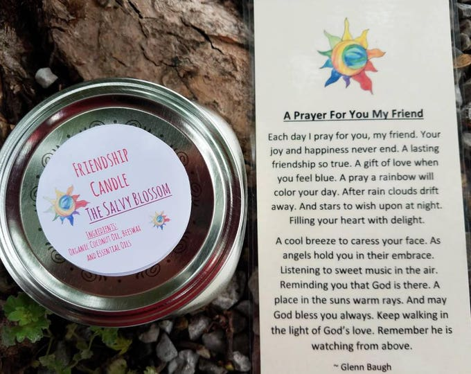 Featured listing image: Friendship Organic Coconut Oil Candle and Poem, All Natural, Nontoxic, Paraffin, Petroleum, Chemical and Dye Free, 8oz Mason Jar