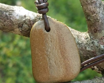 Stone Pendant Necklace Made from River Rock, one of a kind