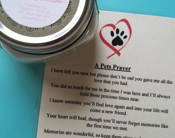 Candle and A Pets Prayer Poem, Empathy, Pet Grief, Organic Coconut Oil Candles, Nontoxic, Chemical and Dye Free Pet Memorial
