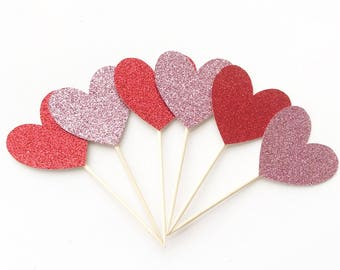 Glitter Heart Cupcake Toppers Valentine's Day Cupcake Toppers Valentine's Day Decorations Heart Decorations Heart Cupcake Toppers Be Mine