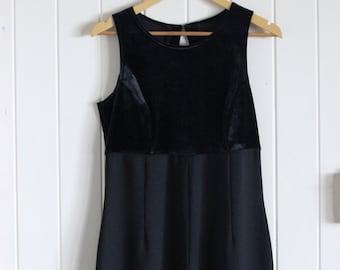 90's, black half velvet, short sleeve, straight leg, romper, jumpsuit