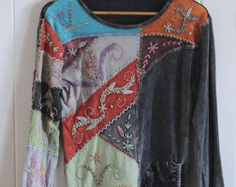 Bohemian, velvet, patch work, embroidery, colourful, grey, long sleeved top, sweatshirt