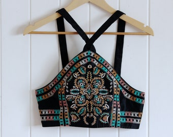 90's, patterned, crop top with zip