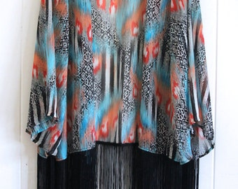 Aztec Sheer Kimono with tassels, bohemian
