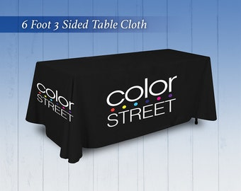 Table Cloth with Logo - Color Street Tablecloth - 6 or 8 Foot 3 sided Table Cover OR Personalized with your Company Logo *1 Day Ship & Tablecloth with logo | Etsy