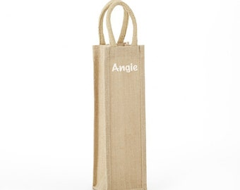 Love the Wine Youre With burlap wine tote bag gift