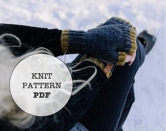 Knit Pattern / Huxley Fingerless Mittens / Whiteowlcrochetco / Knitting Pattern / Knit Picks Swish / Worsted Weight / Winter Mitten