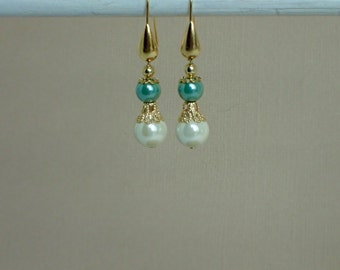Ivory and Turquoise Hemalyke Beaded Gold Plated Earrings