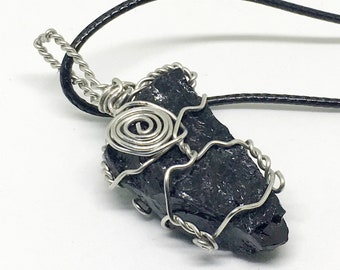 Black Tourmaline Silver Wire Wrapped Necklace, Metaphysical, Crystal Healing, Crystal Necklaces, Wire Wrapped Crystals, New Age, Wicca